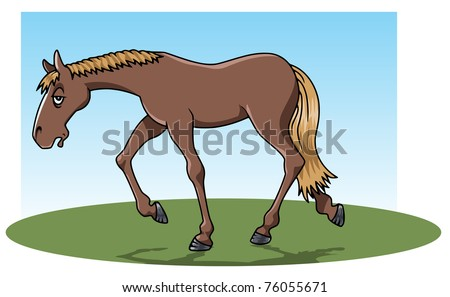 Cartoon-style illustration: a very tired brown horse walking on the grass - stock vector