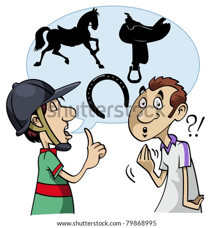 Cartoon-style illustration: a young horseman speaks using equestrian slang. The interlocutor does not understand
