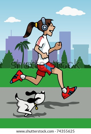 Cartoon-style illustration: a young woman is running with her small dog. She wears headphones. Skyscrapers and trees on the background - stock vector