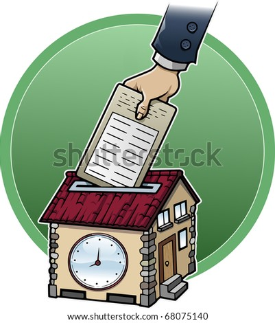 Cartoon style illustration about working at home: a hand is punching a house-shaped clock - stock vector