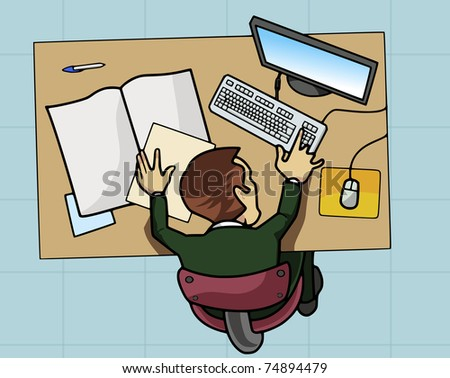 Cartoon-style illustration: an employee is working at his table with computer and papers. View from above - stock vector