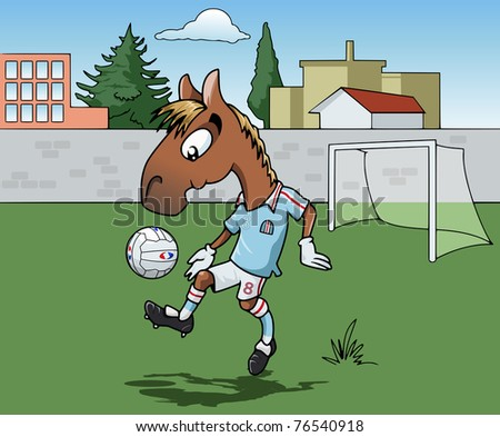 Cartoon-style illustration: Cute young horse is playing soccer. He's wearing a light blue jersey.  Town on the background - stock vector