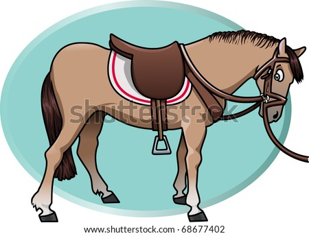 Cartoon-style illustration of a cute brown horse with saddle and reins. An aquamarine oval shape on the background - stock vector