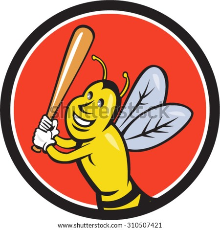 Cartoon style illustration of a killer bee baseball player smiling holding bat batting viewed from the front set inside circle on isolated background.  - stock vector