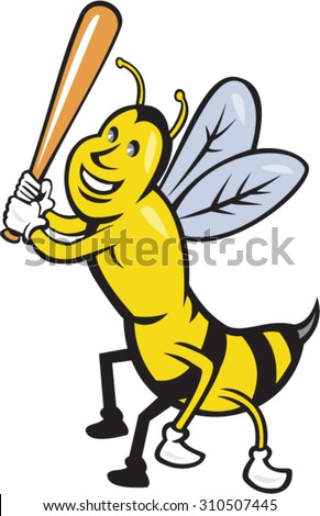 Cartoon style illustration of a killer bee baseball player smiling holding bat batting viewed from the front set on isolated white background.  - stock vector