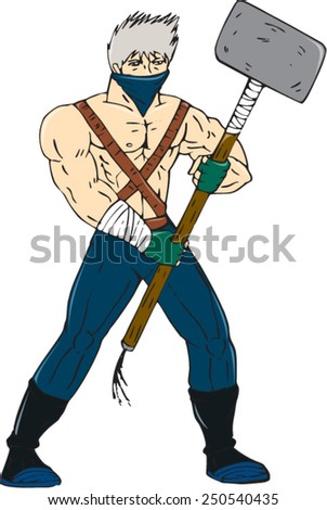 Cartoon style illustration of a masked ninja warrior superhero holding a giant sledgehammer viewed from front on isolated background.