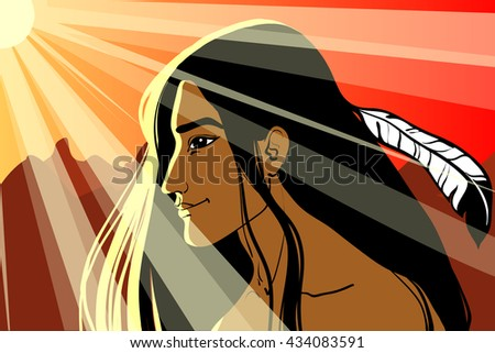 Cartoon style illustration of a native american indian man standing in the sunlight.  - stock vector
