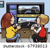 Cartoon-style illustration: two kids (one girl, one boy) playing a car racing video-game on a huge screen - stock photo