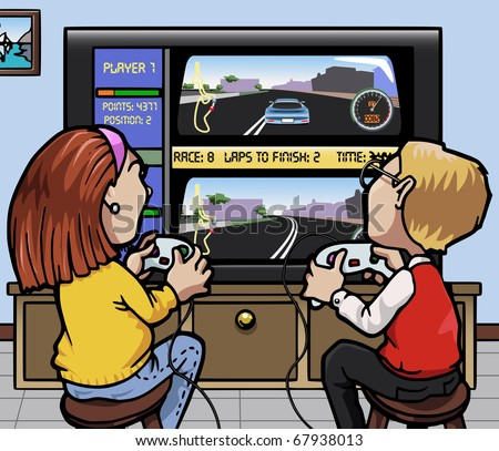 Cartoon-style illustration: two kids (one girl, one boy) playing a car racing video-game on a huge screen