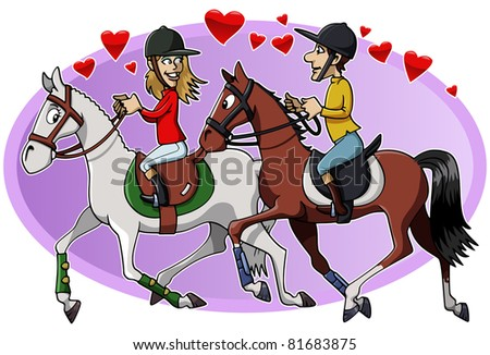Cartoon-style illustration: two young lovers riding their cute horses - stock vector