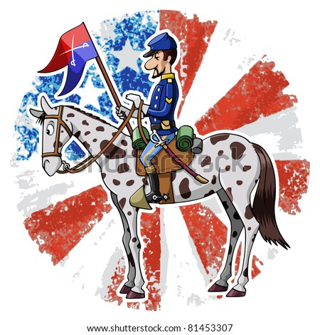 Cartoon-style illustration: United States Cavalry soldier riding his horse. American grunge flag on the background - stock vector