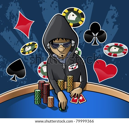 Cartoon-style illustration: young poker player with hood, eyeglasses and headphones, holding some chips. Grunge dark background with chips and card suits - stock vector