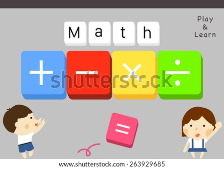 Cartoon style kids learning math calculation/ Educational illustration, vectors, clip arts, and template/ Materials for school teacher/  - stock vector