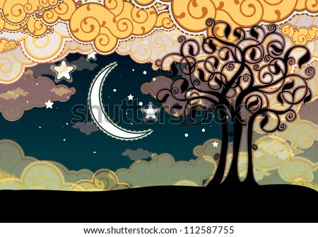 Cartoon style landscape with tree and moon - stock vector