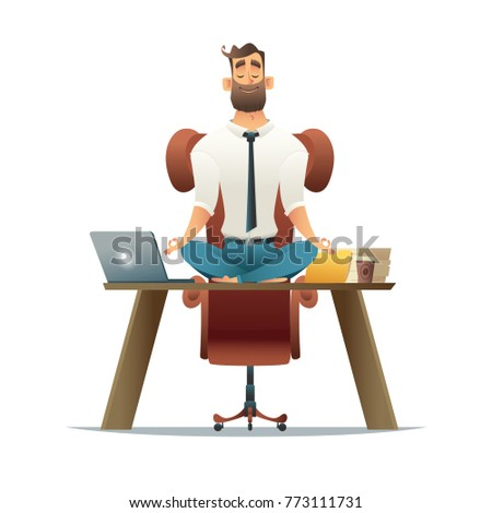 meditation office. Cartoon Style Man Meditation In Office. Yoga At Job. Young Relaxing Lotus Office A