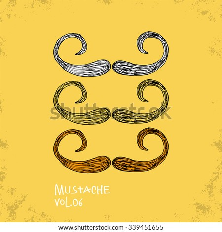Cartoon Style Mustache Illustration - Vol. 06. - Hand Drawn Hipster Fashion Style Doodle Icon - Isolated Graphic Resource - Vector Illustration - stock vector