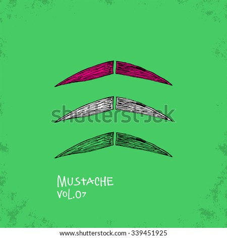 Cartoon Style Mustache Illustration - Vol. 07. - Hand Drawn Hipster Fashion Style Doodle Icon - Isolated Graphic Resource - Vector Illustration - stock vector