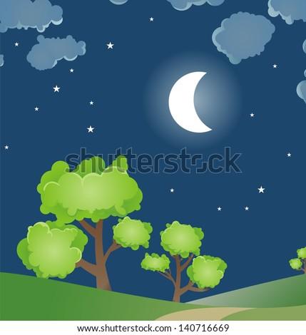 Cartoon style night sky - stock vector