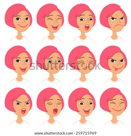 Cartoon Style Pink Hair Girl. Vector Set of Different Emotions Icons. Easy to modify and edit. Isolated on white background - stock vector