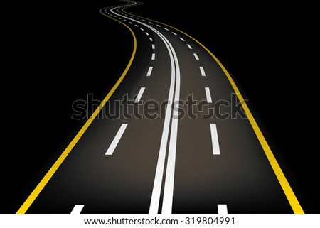 Cartoon style road vector illustration. - stock vector
