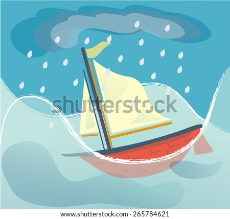 Cartoon style sailing ship sinking in a stormy sea/A Sinking Ship - stock vector