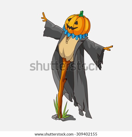 Cartoon style scarecrow isolated