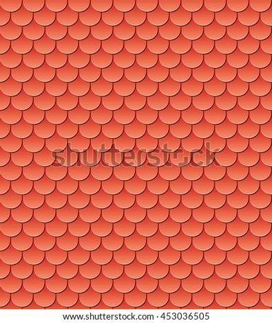 Cartoon style seamless roof tiles vector illustration. - stock vector
