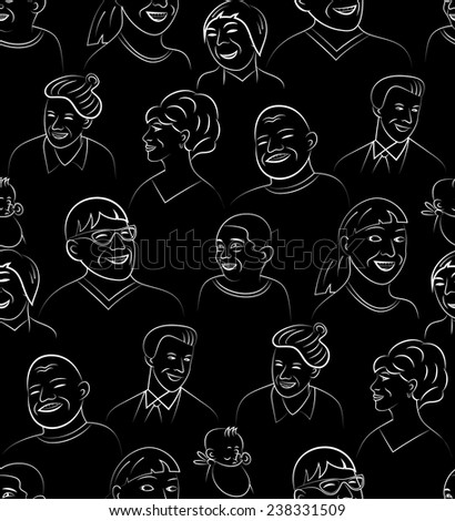 Cartoon Style Smiling and Laughing Faces Set, Vector Seamless Pattern Background