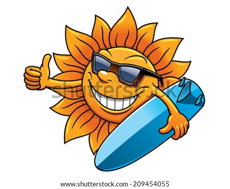 Cartoon style smiling happy sun character with sunglasses and surfboard for travel, logo and leisure design - stock vector