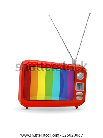 Cartoon style TV showing stripes as a no signal picture. EPS10 vector. - stock vector