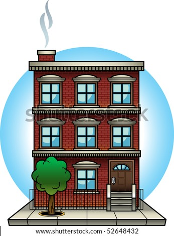 Cartoon-style vector illustration of a brick apartment building. This file is well-organized and labeled, so all colors and graphic elements can be edited easily. - stock vector