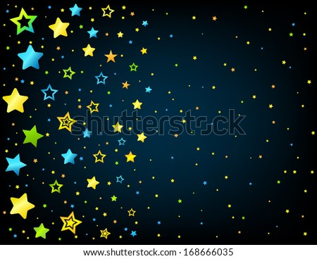 Cartoon style vector stars background with copyspace right - stock vector