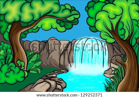 Cartoon Style Waterfall Forest Stock Vector 129252371