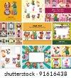 cartoon summer animal card - stock vector