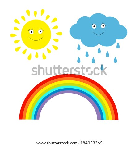Cartoon sun, cloud with rain and rainbow set.  Isolated. Children'??s funny illustration. Vector. - stock vector