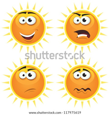 Cartoon Sun Icons Emotions/ Illustration of a set of various cartoon funny sun symbol icons characters with various emotions, happy, angry, doubtful and sadness - stock vector