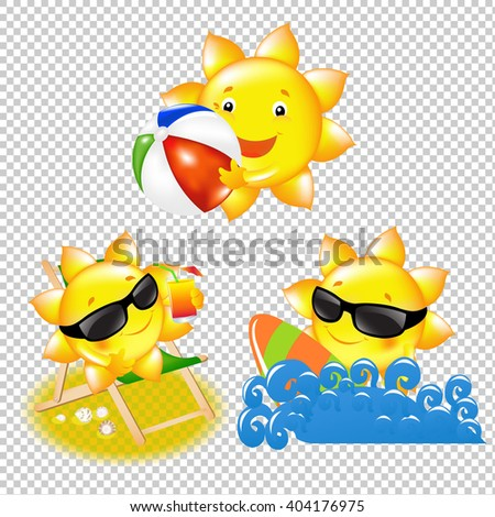 Cartoon Sun Set Isolated on Transparent Background, Vector Illustration, With Gradient Mesh - stock vector