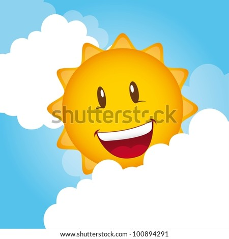 cartoon sun with clouds, background. vector illustration