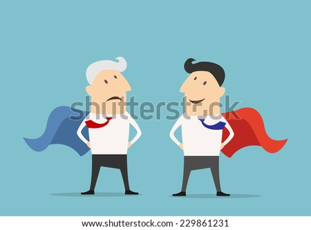 Cartoon Super hero businessman characters standing facing each other, one with a red cape, one a blue - stock vector