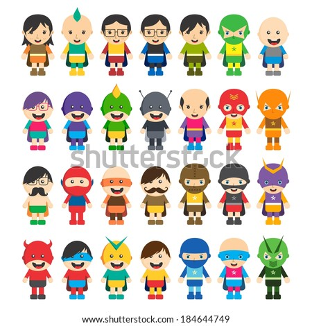 cartoon super hero character pack - stock vector