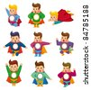 cartoon superman icons - stock photo