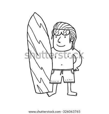cartoon surfer boy posing with surfing board - stock vector
