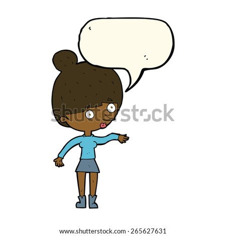 cartoon surprised woman with speech bubble - stock vector