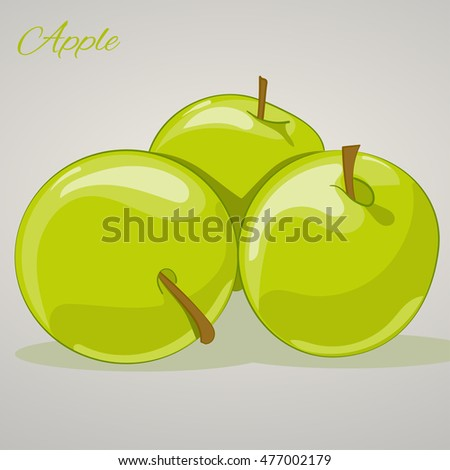 Cartoon sweet apples isolated on grey background, vector illustration. Fruits and vegetables collection.