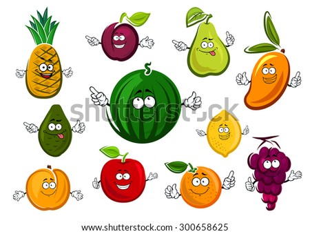 Cartoon sweet dessert fruits characters with watermelon, apple, orange, lemon, grape, avocado, mango, plum, pear and peach, isolated on white background - stock vector