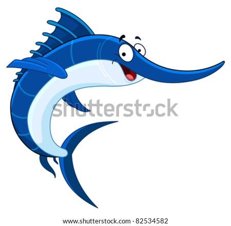 Cartoon swordfish - stock vector