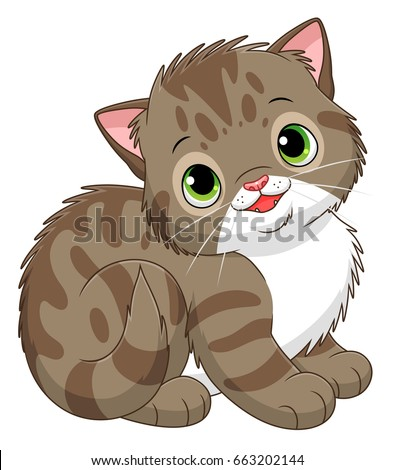 Cartoon Tabby Kitten Stock Vector 663202144 - Shutterstock Tabby Cat Cartoon Drawing
