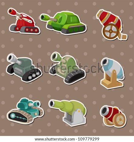 cartoon Tank and Cannon Weapon stickers - stock vector