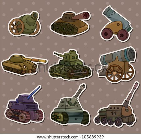 cartoon Tank/Cannon Weapon stickers - stock vector