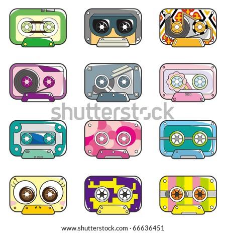 cartoon tape icon - stock vector